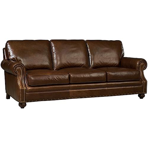 Hooker Furniture Jennings Traditional Leather Stationary Sofa
