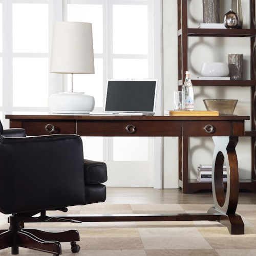 Hooker Furniture Kinsey Contemporary Writing Desk with Drop Front Keyboard Drawer and Open Circle Fretwork