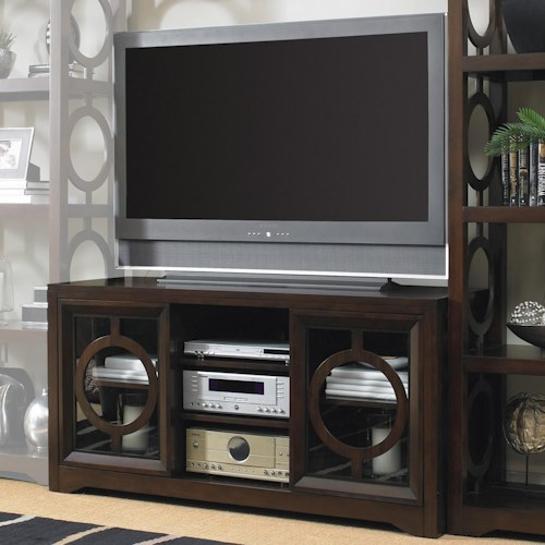Hooker Furniture Kinsey Contemporary Entertainment Console with Circle Fretwork Door Fronts