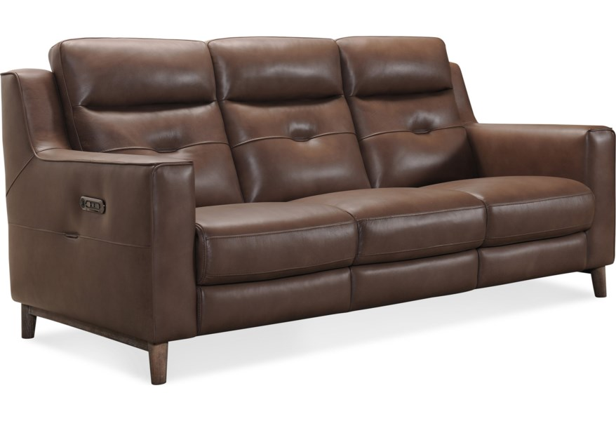 Lachlan Contemporary Power Leather Sofa with Power Headrest by Hooker  Furniture at Dunk & Bright Furniture