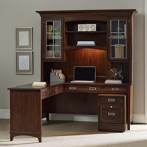 Hooker Furniture Latitude Walnut L-Shaped Desk and Hutch Set with Rolling Filing Cabinet