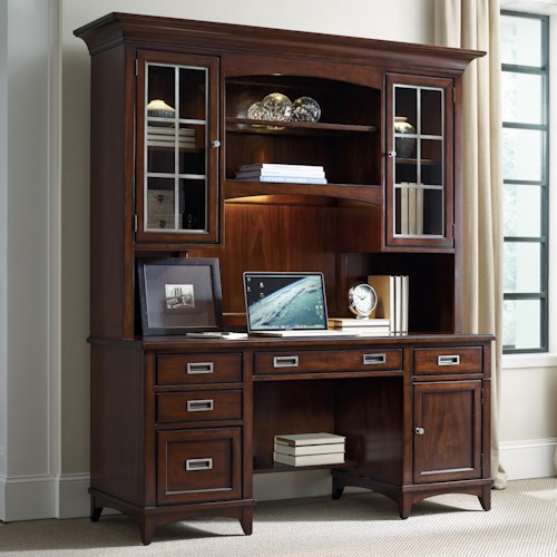 Hooker Furniture Latitude Walnut New-Vintage Credenza and Hutch Set
