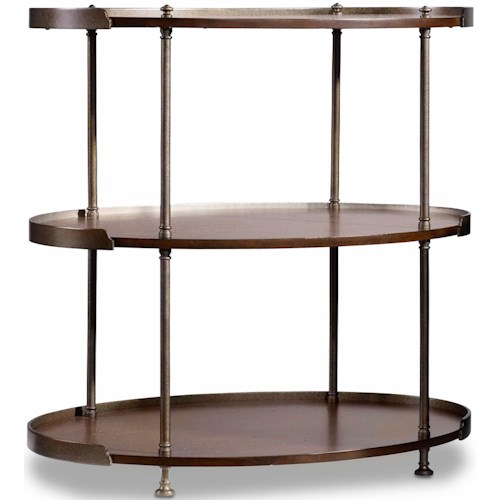 Hooker Furniture Leesburg Chairside Table with 2 Shelves and Metal Frame