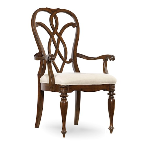 Hooker Furniture Leesburg Splatback Arm Chair with Traditional Style