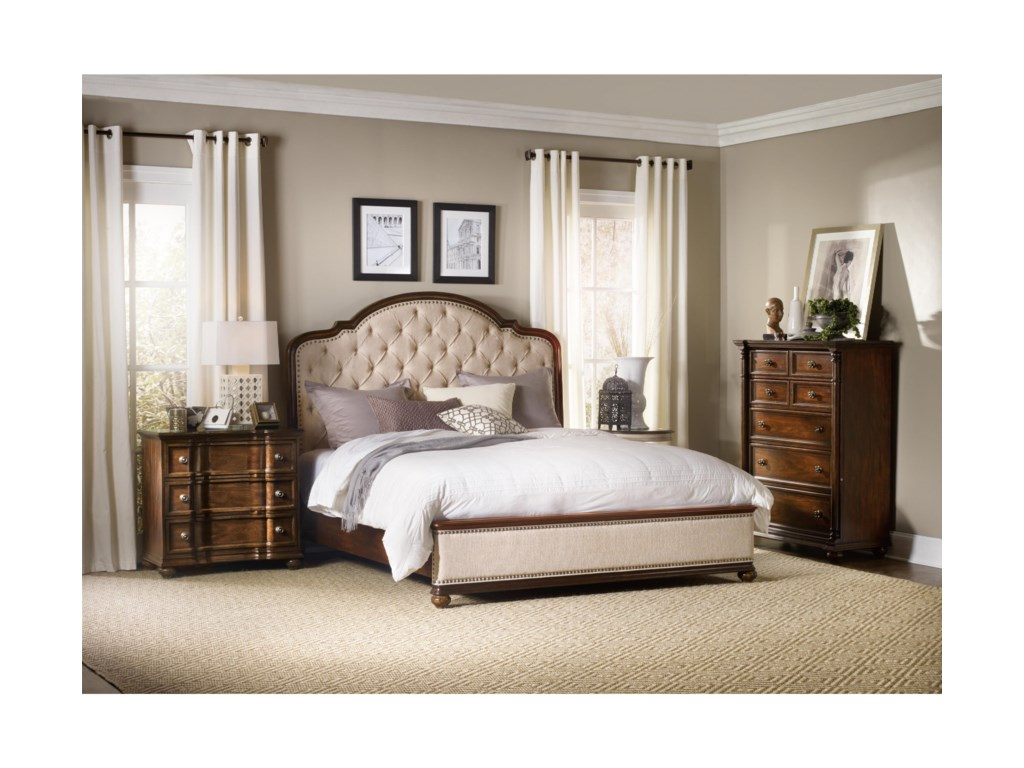 Hooker Furniture LeesburgKing Size Upholstered Bed with Wood Rails