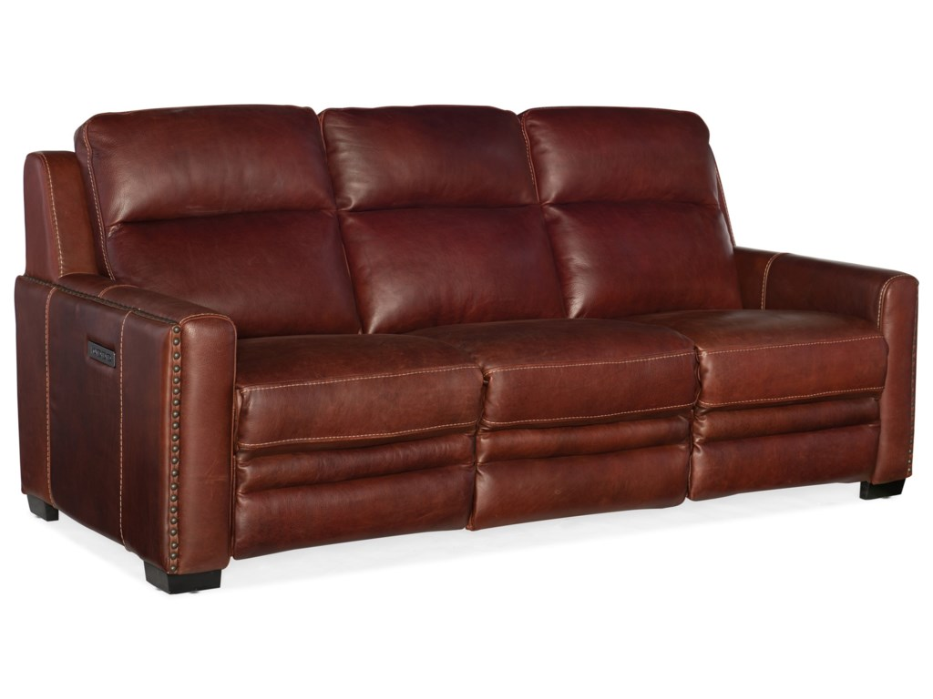 Hooker Furniture Lincoln Transitional Leather Power Reclining Sofa