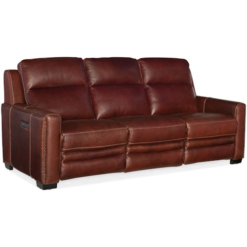 Furniture Lincoln Transitional Leather Reclining Sofa With Headrest Lumbar Support