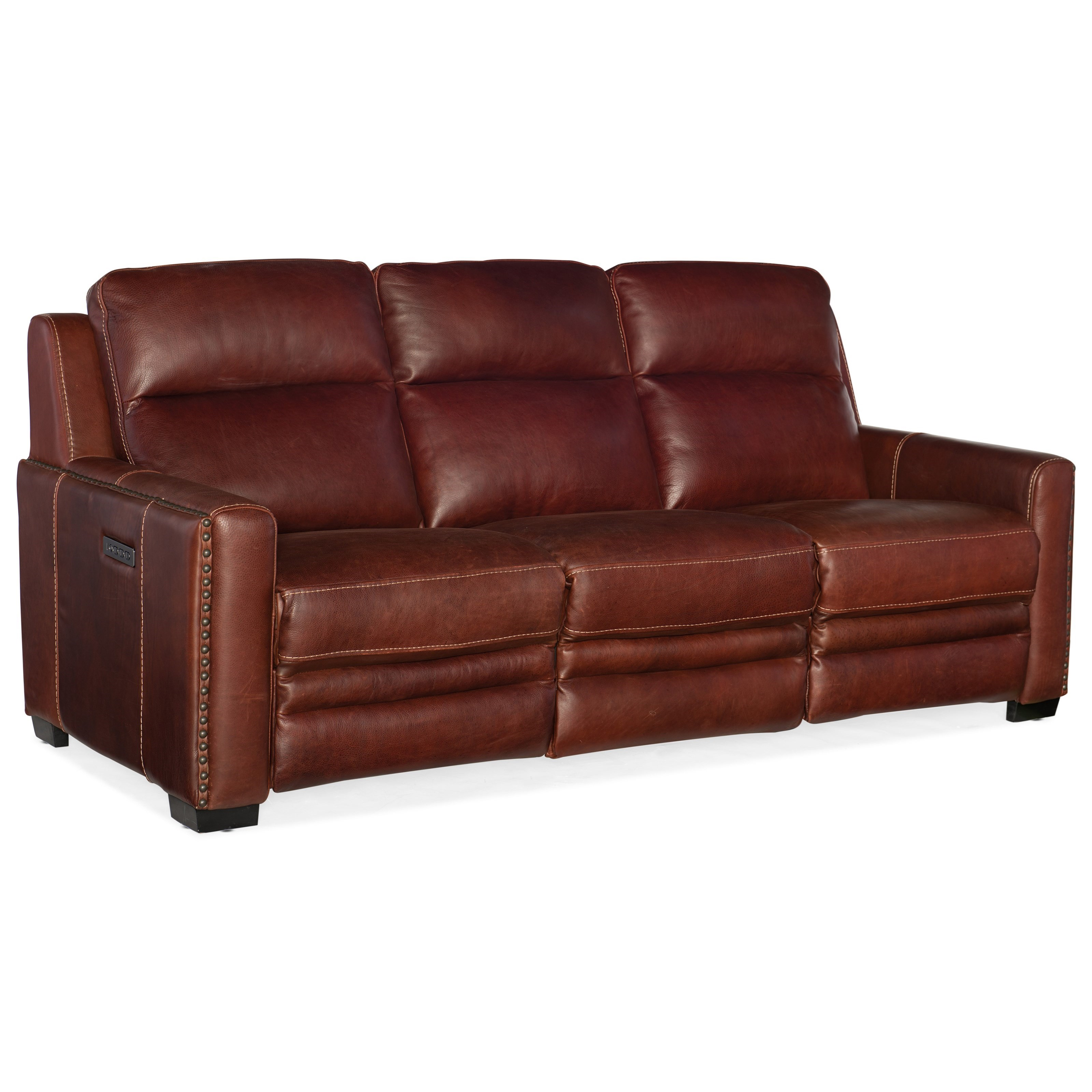 Hooker Furniture Lincoln Transitional Leather Power Reclining Sofa With  Power Headrest U0026 Power Lumbar Support