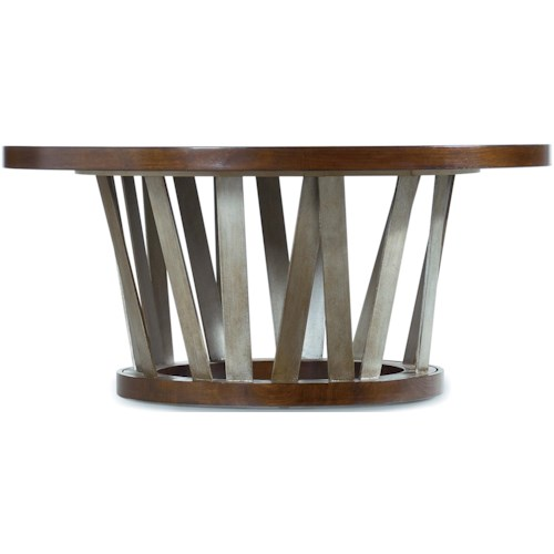 Hooker Furniture Lorimer 42-Inch Round Cocktail Table with Asymmetrical Metal Base