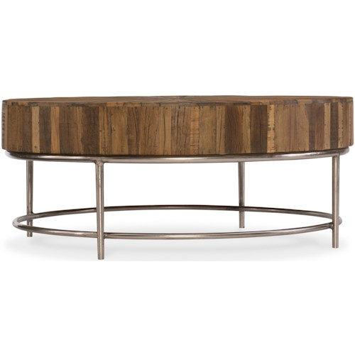 Hooker Furniture L'Usine Round Cocktail Table with Reclaimed Wood Top