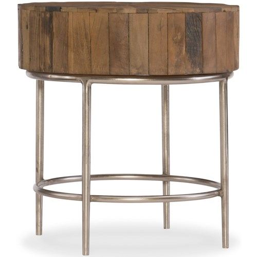 Hooker Furniture L'Usine Round End Table with Reclaimed Wood Top