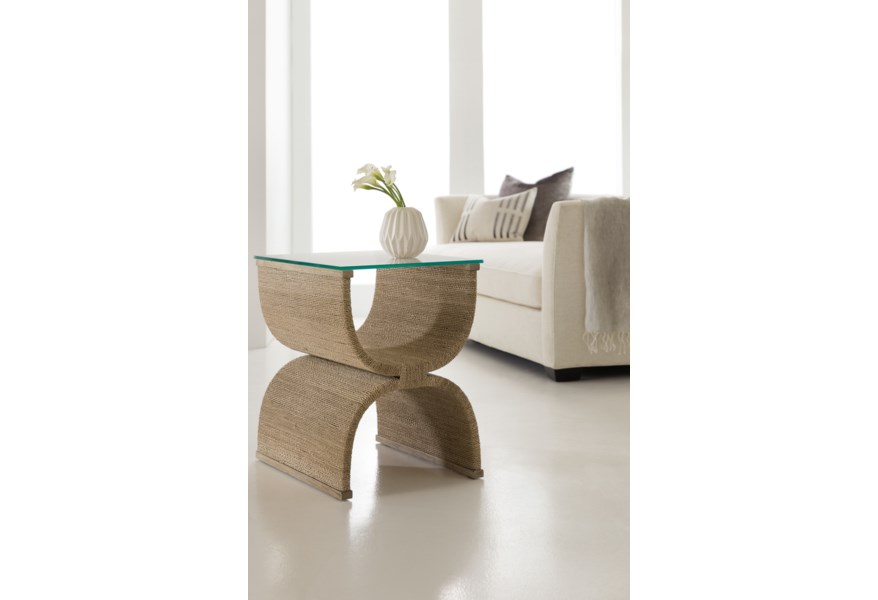 Hooker Furniture Melange 638 50513 80 Lenny Woven End Table With Glass Top O Dunk O Bright Furniture End Tables