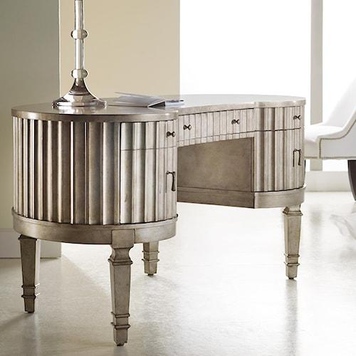 Hooker Furniture Mélange Fluted Kidney Desk of 5 Drawers