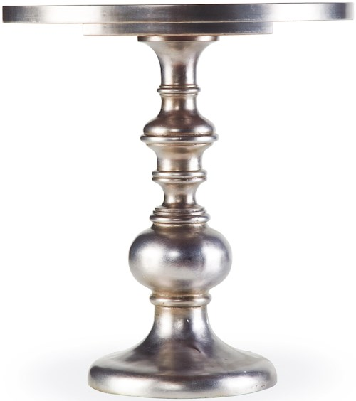 Hooker Furniture Mélange Kenmar Turned Pedestal Table with Iridescent Faux Zinc Finish