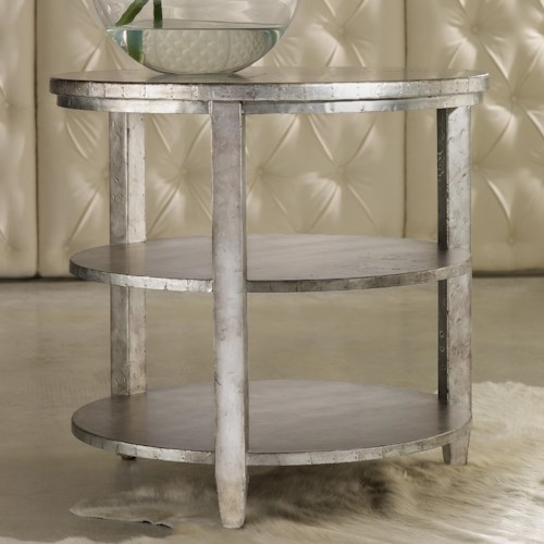 Hooker Furniture Mélange Metallic Maverick Round Top Table with 2 Shelves