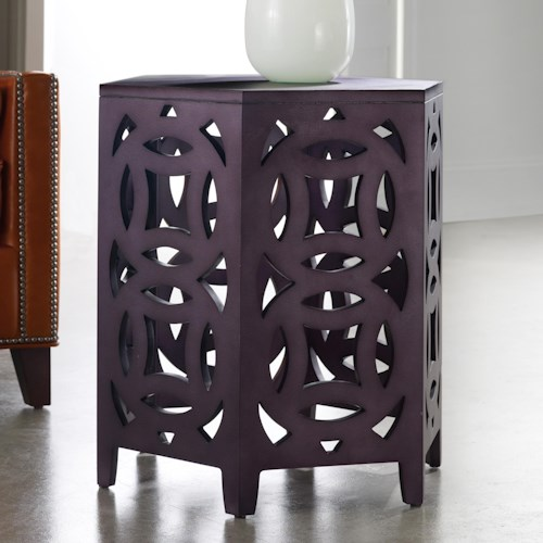Hooker Furniture Mélange Hexagonal Accent Table with Geometric Fretwork