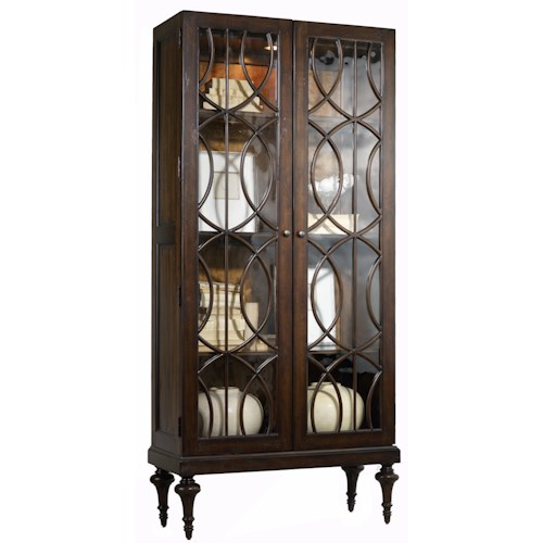 Hooker Furniture Mélange Adaira Display Cabinet with Concentric Circle Wood Trim