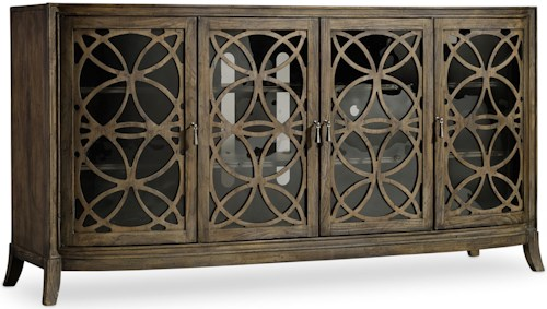 Hooker Furniture Mélange Sloan Console with Seeded Glass Doors