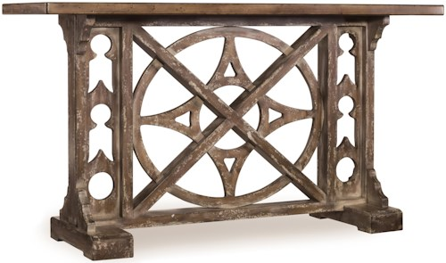 Hooker Furniture Mélange Rafferty Console with Compass Motif Fretwork and Rustic Plank Top