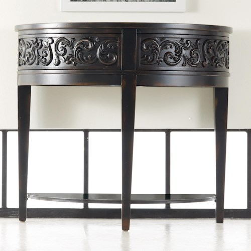 Hooker Furniture Mélange Damasque Demi Console Table with 2 Swing Drawers