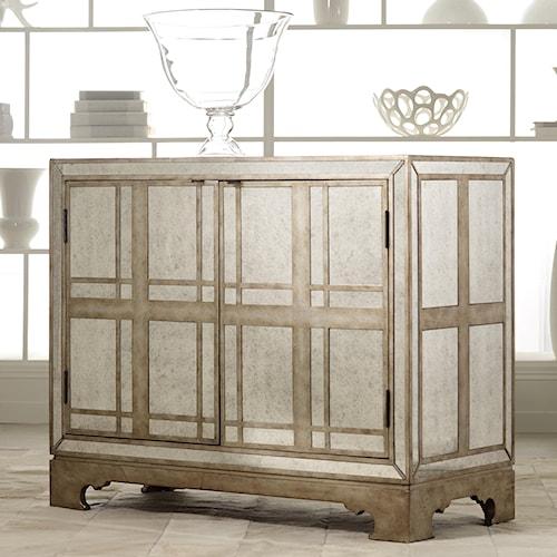 Hooker Furniture Mélange Mirrored Plaid Door Chest with Wine Storage