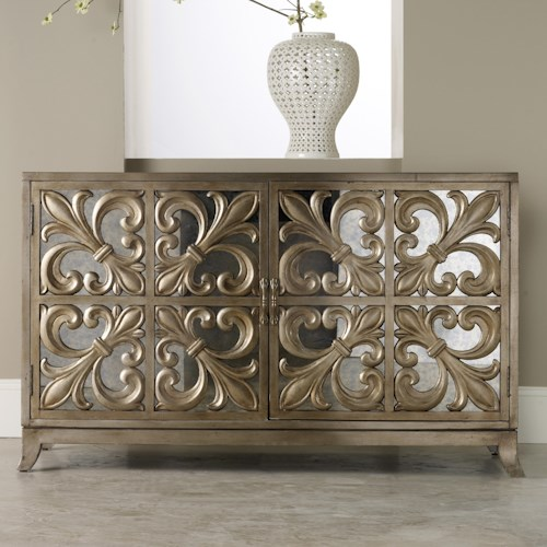 Hooker Furniture Mélange Metallic Fleur-de-lis Mirrored Credenza
