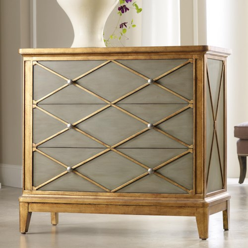 Hooker Furniture Mélange Paxton Gold Trim Chest with 3 Drawers
