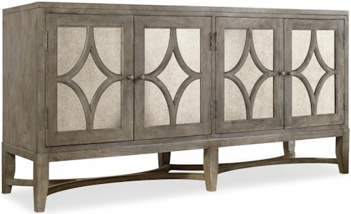 Hooker Furniture Mélange 4 Door Diamante Console with Antique Mirror Accents
