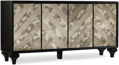 Hooker Furniture Mélange Mirrored Angle Console with 4 Doors