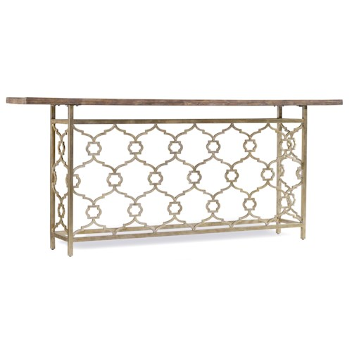 Hooker Furniture Mélange Landon Hall Console with Metal and Silver Leaf