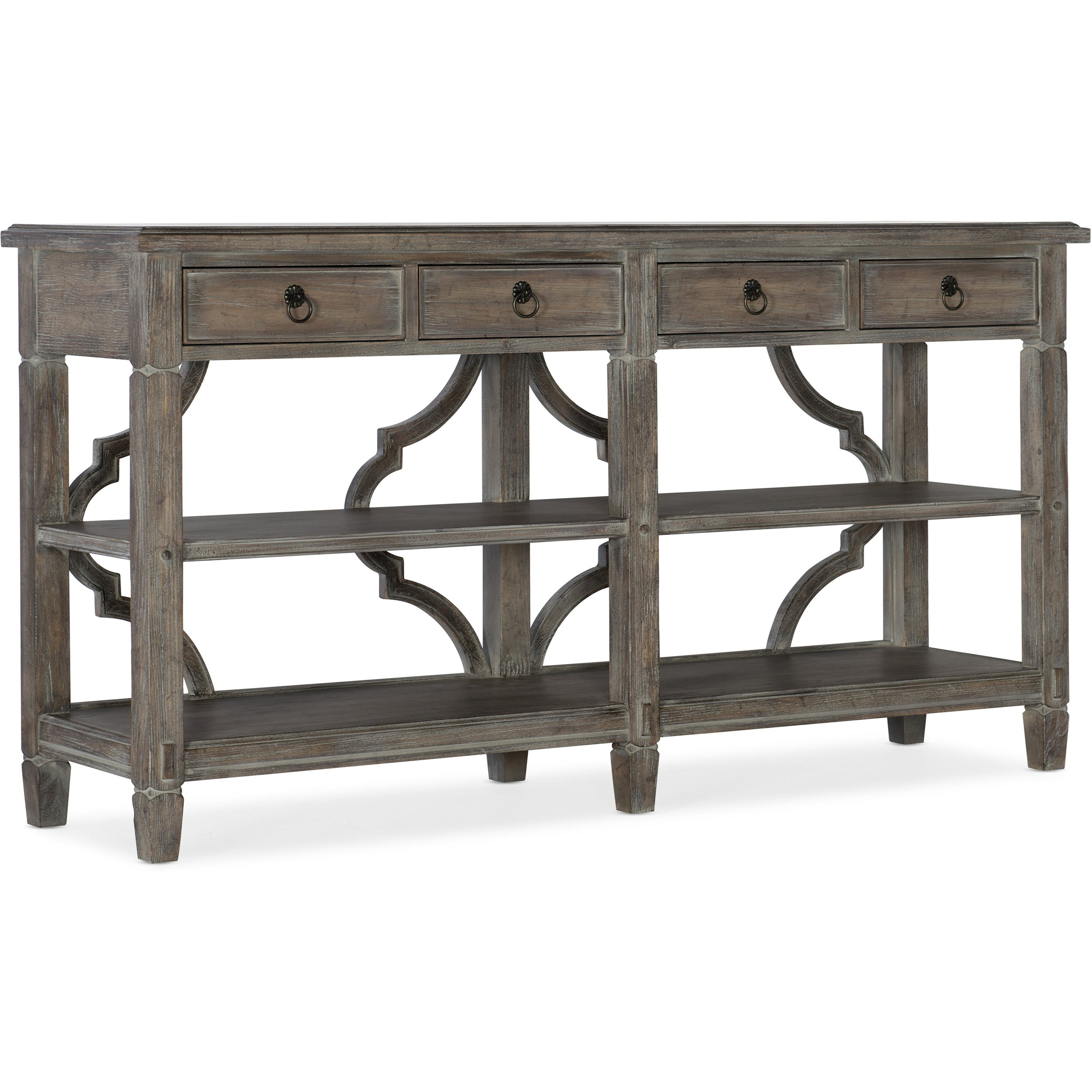 Relaxed Vintage Console Table with Drawers and Shelving