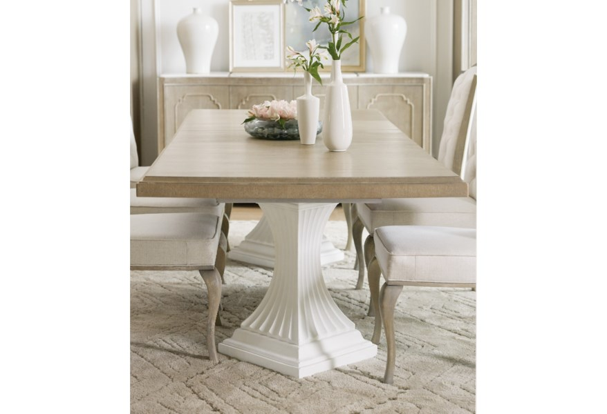 Modern Romance Transitional Double Pedestal Dining Table with Two 22\