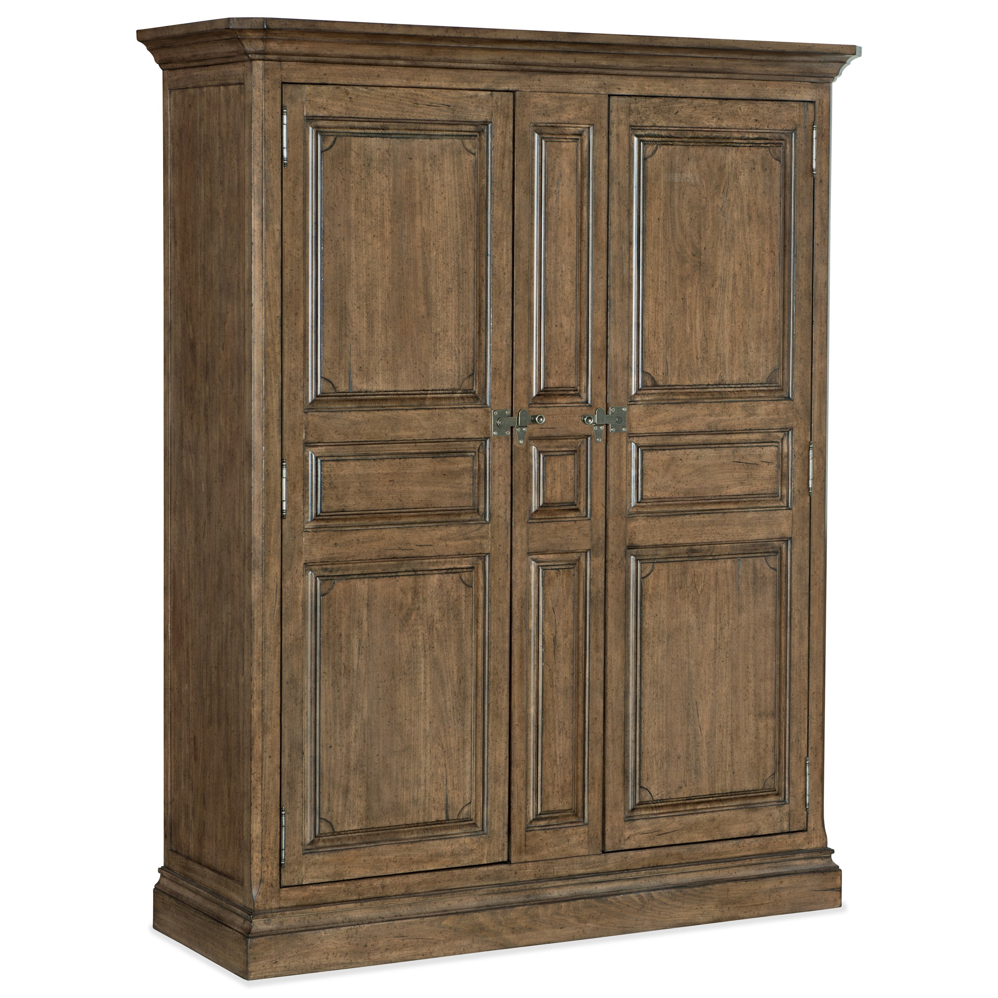 Farmhouse Solid Wood Armoire with Removable Shelves and Closet Rods