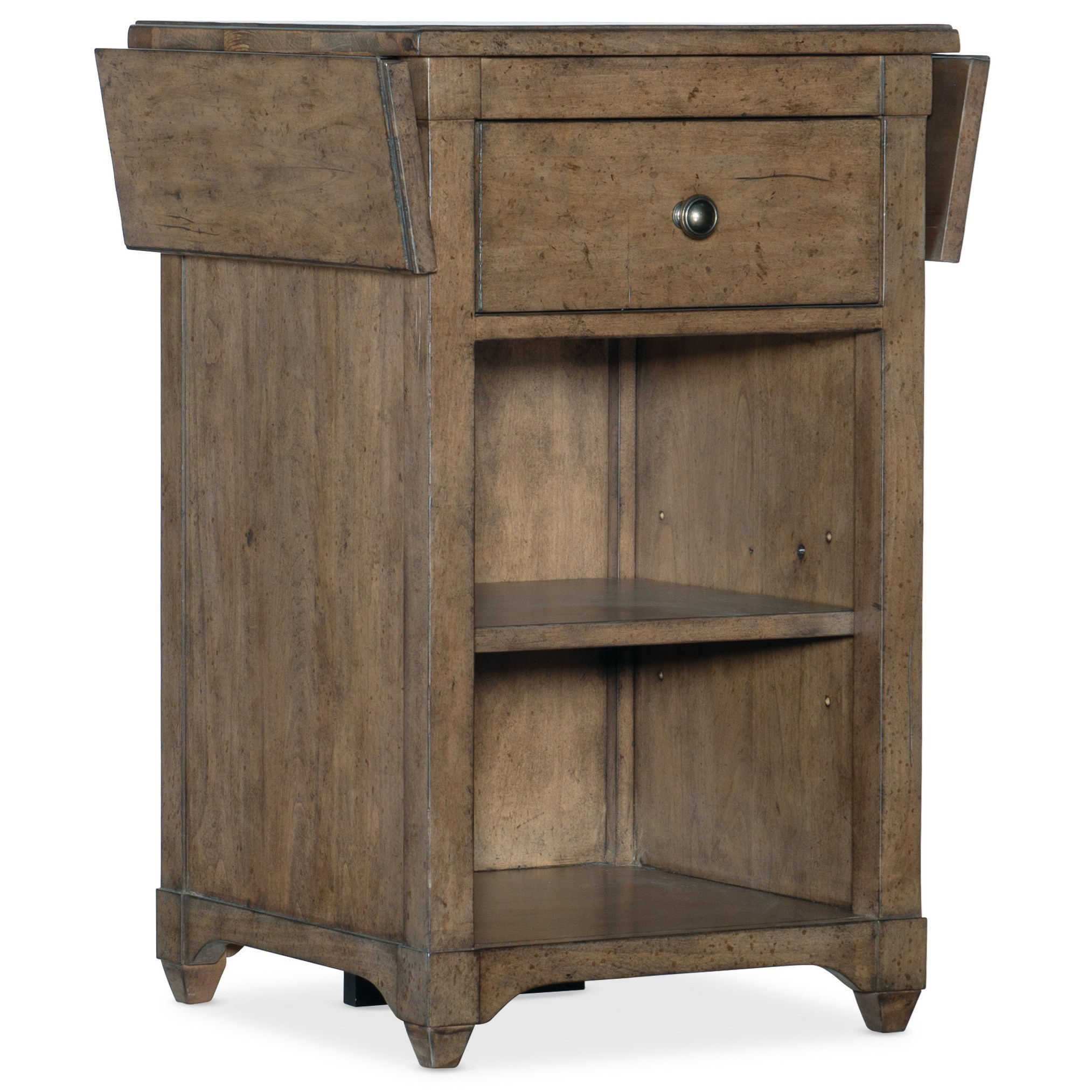 Farmhouse Solid Wood Telephone Table with 1 Drawer and Drop Leaves