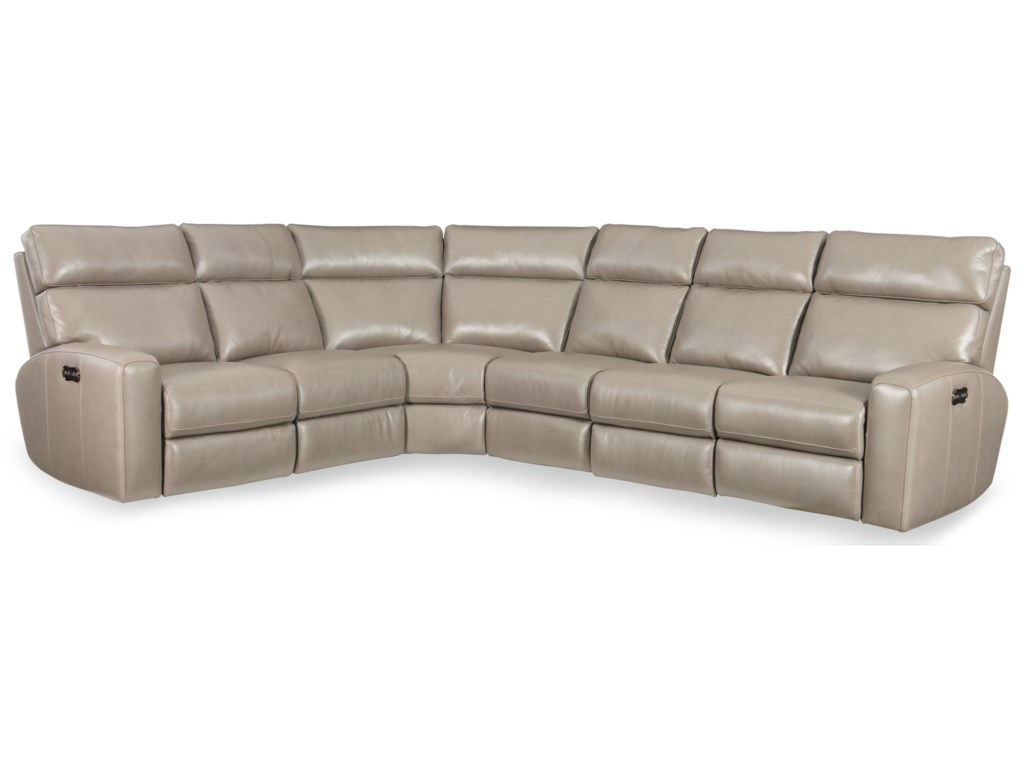 Hooker Furniture Mowry4 PC Pwr Motion Sectional w/ Pwr Hdrest