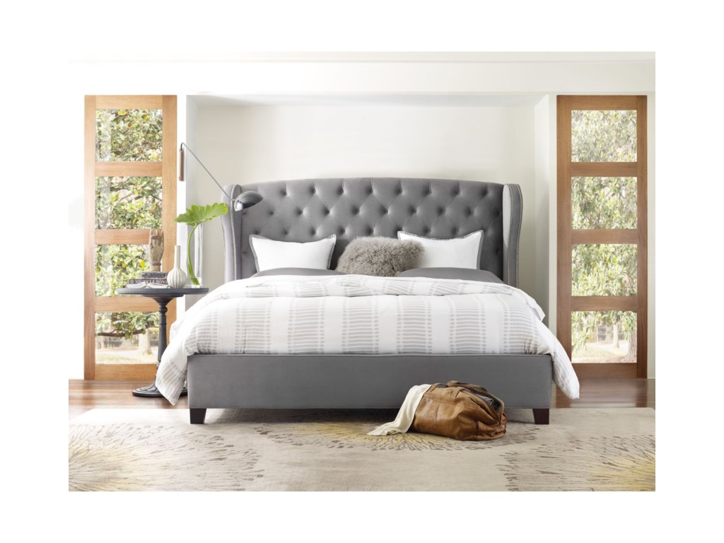 Hooker Furniture Nest TheoryHeron Tufted 52in Queen Upholstered Bed