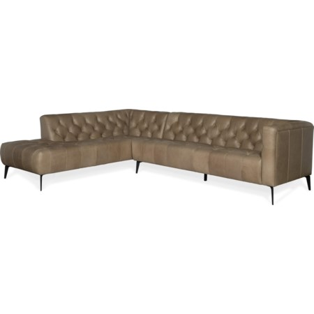 Left Bumper Leather Stationary Sectional