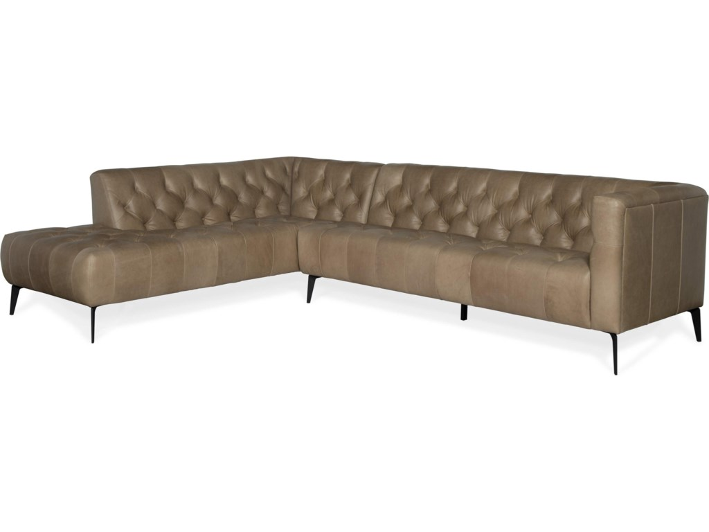 Hooker Furniture NicollaLeft Bumper Leather Stationary Sectional