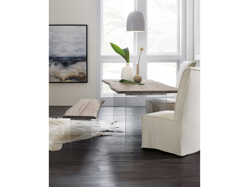 Hooker Furniture OrganicDining Bench with Glass Legs