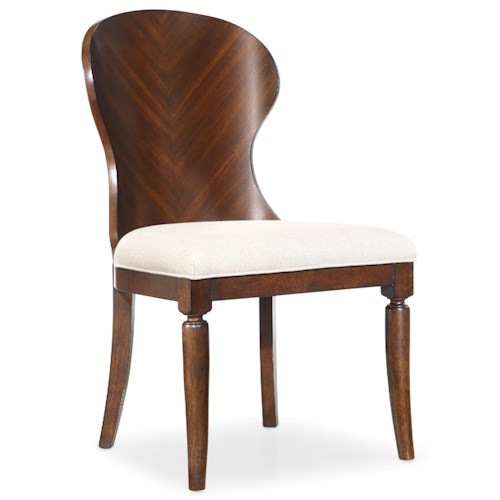 Hooker Furniture Palisade Shaped Wood Back Side Chair with Tapered Legs