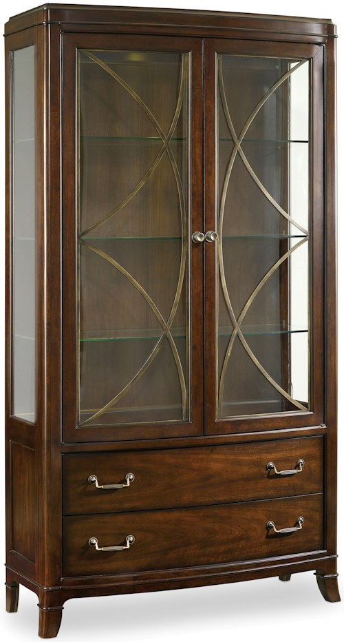 Hooker Furniture Palisade China Display Cabinet with 2 Drawers and Metal Fretwork