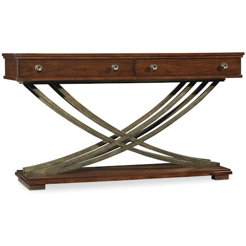 Hooker Furniture Palisade Cross Base Sofa Table with 2 Drawers