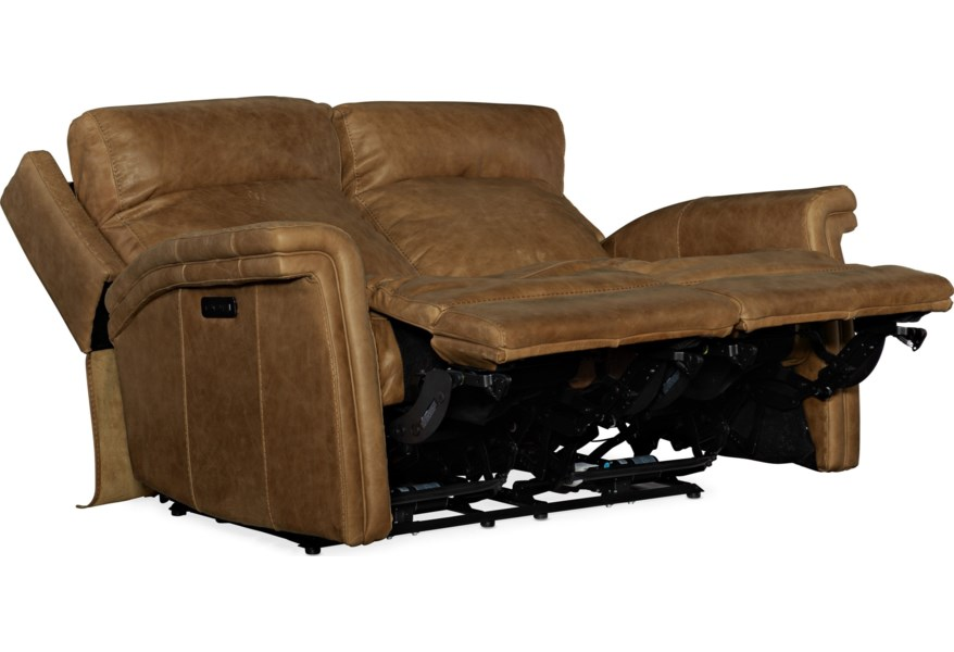 Hooker Furniture Poise Casual Leather Motion Loveseat With Usb Ports Lagniappe Home Store Reclining Loveseats