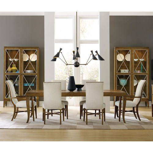 Hooker Furniture Retropolitan 7 Piece Table & Chair Set with Leaves