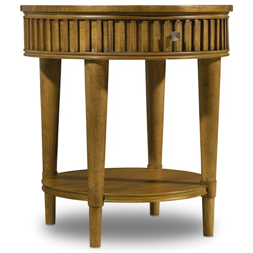 Hooker Furniture Retropolitan Round End Table with Dovetail Drawer