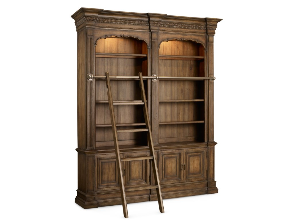 Hooker Furniture RhapsodyDouble Bookcase with Ladder and Rail