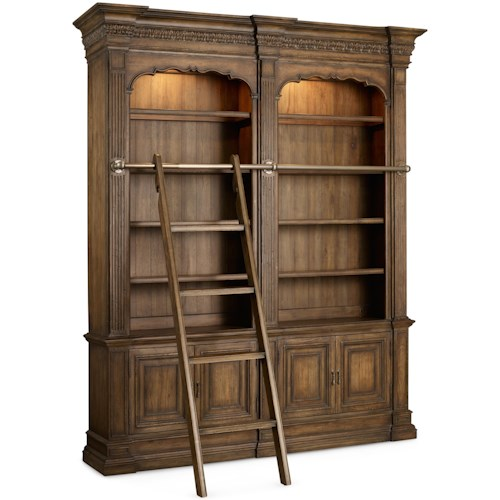 Hooker Furniture Rhapsody Double Bookcase with Touch Lighting, Ladder and Rail