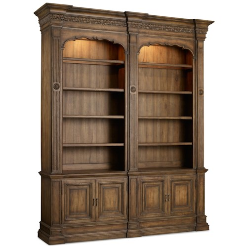 Hooker Furniture Rhapsody Double Bookcase with Touch Lighting