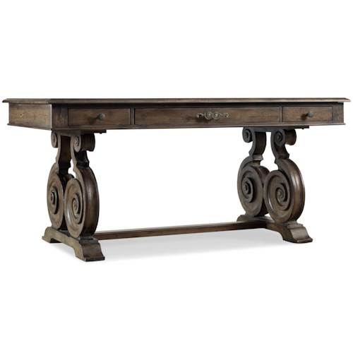 Hooker Furniture Rhapsody Accent Writing Desk with Elaborate Scrolled Base