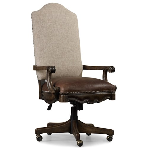 Hooker Furniture Rhapsody Tilt Swivel Chair with Leather Seat, Fabric Back and Nailhead Trim
